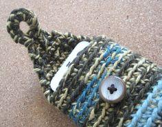 iPhone/Smartphone case crocheted merino wool and soft hemp on Etsy, $24.00