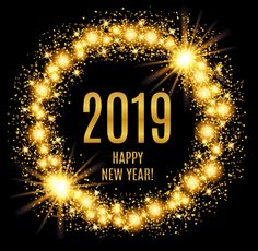 2019 happy new year glowing gold background vector image on vectorstock
