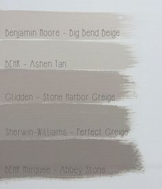 Popular Greige colors from 4 Top Brands.