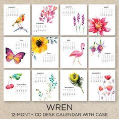 WREN 2016 Desk Calendar with CD case di doublebuttons su Etsy
