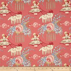 Bon Bon Bebe Bo Peep Rose from @fabricdotcom  Designed by Robyn Pandolph for RJR Fabrics, this cotton print is perfect for quilting, apparel and home decor accents. Colors include cream, brown, orange, shades of pink, shades of green, and shades of blue.