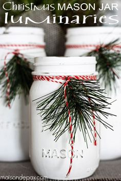 Christmas Crafts - DIY mason jar luminaries - adorable and easy Christmas decorations or holiday de. Christmas Jars, Rustic Christmas, Christmas Garden, Outdoor Christmas, Homemade Christmas, Christmas Gifts, Christmas Recipes, Merry Christmas, Mason Jar Crafts