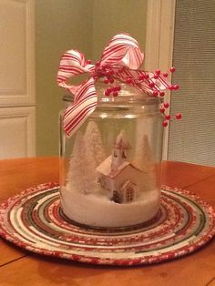 Christmas Jar Snow Scene.