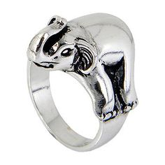 Elephant Sterling Silver Unisex Ring and Black by jewelkingthai, $24.00.  Too cute, like he's laying on your finger :)