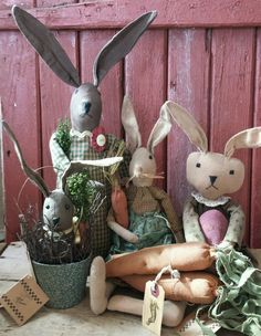 Primitives by Kathy Easter Bunny Rabbit Doll Carrots Lot in Primitives | eBay