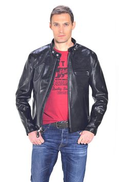 Classic Schott Racer Black Leather Motorcycle Jacket in Horsehide 641HH.