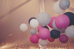 paper lanterns - pink, grey and white~ I love this color palette