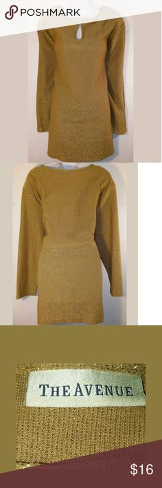 "Awesome? Gold Textured Peek-a-boo Top Sweater Awesome ~The Avenue ~ Gold Textured~ Size 22W/24W~ Peek A Boo Top~W/ Shoulder Pads~Sweater~ Long Sleeve ~Casual Wear?  Bust 52""??  Length 32""?  Sleeve 24""? The Avenue Sweaters"