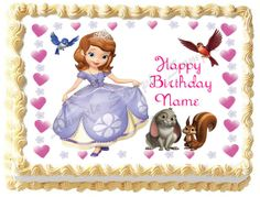 SOFIA THE FIRST # 3 Princess Edible image cake topper 1/4 sheet, 1/2 sheet, cupcakes and more sizes available