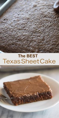 The best (and easiest) Texas Sheet Cake is an amazing chocolate cake recipe made in a jelly roll pan and covered in warm chocolate frosting. It the easiest chocolate cake to make and perfect for a party or potluck. Sheet Cake Recipes, Easy Cake Recipes, Cookie Recipes, Dessert Recipes, Recipe Sheet, Hershey Recipes, Chocolate Banana Bread, Chocolate Cake Mixes, Chocolate Recipes