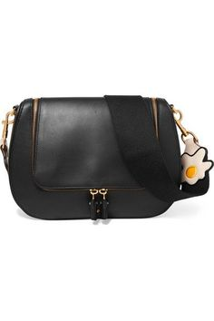 ANYA HINDMARCH Vere canvas-trimmed leather shoulder bag.  anyahindmarch   bags  shoulder ac989b6e7aa42