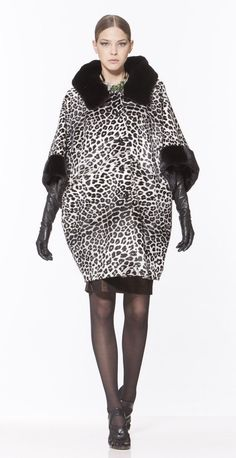 Leopard Stenciled Sheared Mink and Black Mink Fur Coat