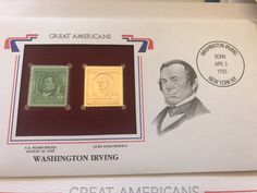 Vintage Stamps, The New Yorker, Overlays, Washington, Mint, Etsy Shop, Handmade Gifts, American, Gold