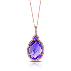 Marco Moore 14K Oval Cut Amethyst and Diamond Pendant - Fink's Jewelers