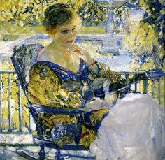 Girl with a Guitar (Daydreams), 1916-17. Richard E. Miller (American, Impressionism, 1875-1943). Oil on canvas. Sheldon Memorial Art Gallery, Univ of Nebraska, Lincoln.