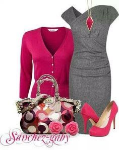 Grey dress with fuchsia sweater and accents