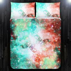 Nebula Outer Space Red Blue Galaxy Duvet Cover by DUVETCOVER