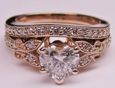 Heart Shape Diamond Butterfly Vintage Engagement Ring & Matching Wedding Band  In Rose Gold