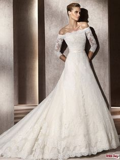 Bridal-Buy.com : 2012 Unique Style Strapless Off-the-Shoulder Long White Lace Wedding Dress with Sleeves (WLD-7035)