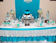 Bowtie and Mustache blue and brown baby shower