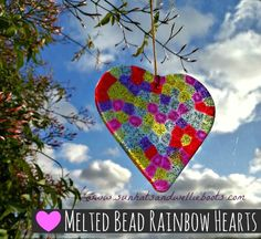 Melted Bead Rainbow Hearts - perfect for Valentine's Day