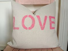 Pink and Gray LOVE Pillow Cover by MySwallowsNest on Etsy #valentinesday #wedding #pink #gray #chevron #gift