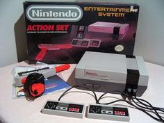 """The Nintendo Entertainment System """"Action Set"""" including the console, Super Mario Bros./Duck Hunt combo cartridge, two contollers, and NES Zapper. 90s Childhood, My Childhood Memories, School Memories, Childhood Friends, Videogames, Mundo Dos Games, Original Nintendo, Computer Science, Entertainment"""