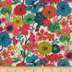 Liberty of London Tana Lawn Arrow Pink/Teal from @fabricdotcom  From the world famous Liberty Of London, this exquisite cotton lawn fabric is finely woven, light weight and ultra soft. This gorgeous fabric is oh so perfect for flirty blouses, dresses, lingerie, tunics, tops and more. Colors include coral pink, hot pink, teal blue, lime and green on an ivory background.