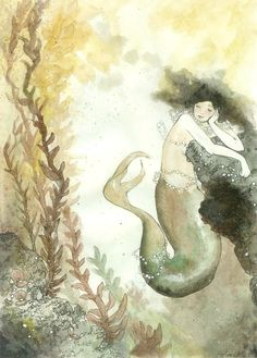 """She Collected Pearls - print on recycled cardstock, 7.5"""" x 11""""."""