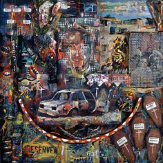 Goniwe by Willie Bester - Pigozzi Collection 2014 - Contemporary African Art Collection Contemporary African Art, South African Artists, City Photo, Artworks, Painting, Image, Collection, Google Search, World