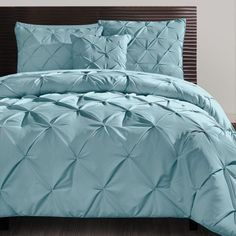 Carmen 4-Piece Comforter Set Blue  Sleep your most restful sleep yet with the beautiful tufted deigned Comforter Set. Plump, soft and comfortable, this light blue set includes 2 standard pillow shams and 1 decorative pillow. Also available in lavender, chocolate and taupe.