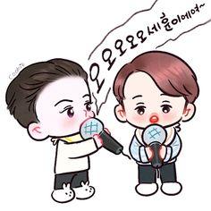 Sehun and kai SBS super concert in Hong Kong Exo Cartoon, Cartoon Art, Sekai Exo, Chibi, Exo Fan Art, Exo Memes, Kpop Fanart, G Dragon, Sehun