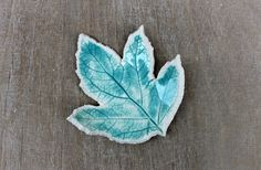 Feuille poterie - poterie bleu turquoise - repose bague - poterie turquoise…
