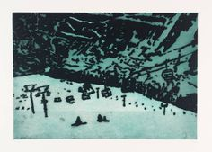 Peter Doig ~ Ski Hill, etching on paper, approx. 10 x 15 inches, from the 'Grasshopper' print portfolio (1996). The image was made using 1 plate and the technique of sugarlift. From tate.org.uk