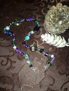 Stone and crystal beaded necklace in purples & greens on Etsy, $24.99