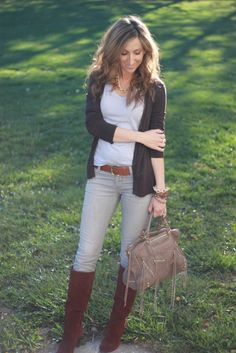 Fall Outfit: Black Cardigan + Grey Tee/T-Shirt + Grey Skinnies + Brown Belt + Chocolate Brown Suede Boots + Grey Bag + Chocolate Brown Scarf
