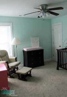 such a sweet blue-green mint color for a baby girl's nursery!! | Benjamin Moore Lido Green | TheTurquoiseHome.com