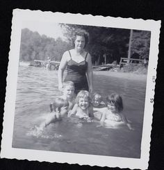 Vintage Antique Photograph Woman Standing With Adorable Children Swimming 1959