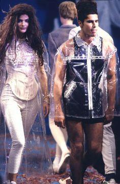 1991 - Jean Paul Gaultier show - Helena Christensen & Cameron Anamorphic, Helena Christensen, Jean Paul Gaultier, Street Wear, Punk, My Style, Inspiration, Gender, Archive