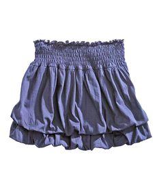 Blue Shirred Skirt - Women