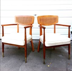 Vtg-2-Mid-Century-Modern-bentwood-cane-back-arm-chairs-wood-dining-club-lounge