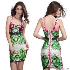 flower printed spaghetti strap 2017 free shipping new fashion mini bodycon bandage dress
