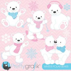 Winter polar bears clipart: Winter polar bears clipart set! Cute and fuzzy pink and blue arctic polar bears having fun skiing, skating and playing in the snow.