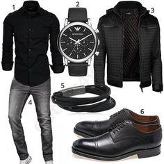 Schwarzes Business-Outfit mit grauer A. Salvarini Jeans (m0968) #schwarz #business #gent #gentlemen #armani #outfit #style #herrenmode #männermode #fashion #menswear #herren #männer #mode #menstyle #mensfashion #menswear #inspiration #cloth #ootd #herrenoutfit #männeroutfit
