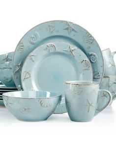 Thomson Pottery Cape Cod Set, Service for 4 - Dinnerware - Dining & Entertaining - Macy's Bridal and Wedding Registry Beach Cottage Style, Beach Cottage Decor, Coastal Cottage, Coastal Style, Coastal Decor, Coastal Living, Cottage Ideas, Cottage Living, Coastal Entryway