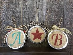 Personalized burlap mason jar lid Christmas tree ornament with livestock brands Burlap Christmas, Noel Christmas, Primitive Christmas, Diy Christmas Ornaments, Country Christmas, Homemade Christmas, Christmas Decorations, Primitive Decorations, Cowboy Christmas