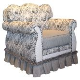 Found it at Wayfair - Toile Black Adult Empire Glider Rocker ~ GV Tip: reupholster brown leather chair like this.
