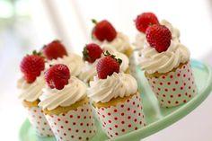 Strawberry Shortcake Cupcake Recipe - Entertaining with Beth Shortcake Cupcake Recipe, Strawberry Shortcake Cupcake, Easy Summer Desserts, Great Desserts, Fancy Desserts, Summer Recipes, Cupcake Recipes, Cupcake Cakes, Dessert Recipes