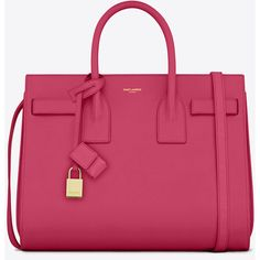 Saint Laurent Classic Small Sac De Jour Bag In Lipstick Pink Leather ($2,750) ❤ liked on Polyvore featuring bags, handbags, shoulder bags, purses, bolsas, lipstick fuchsia, genuine leather handbags, pink leather handbag, pink purse and shoulder strap bag