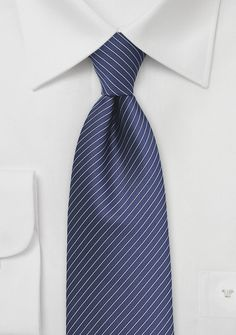 Pencil Striped Tie in Navy and Silver